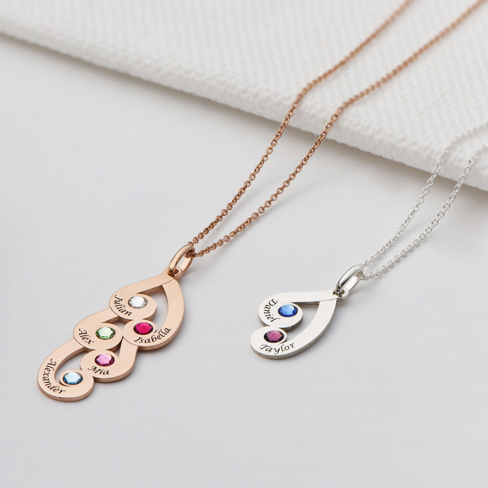 Engraved Family Pendant Necklace with Birthstones in Rose Gold Plating - 1