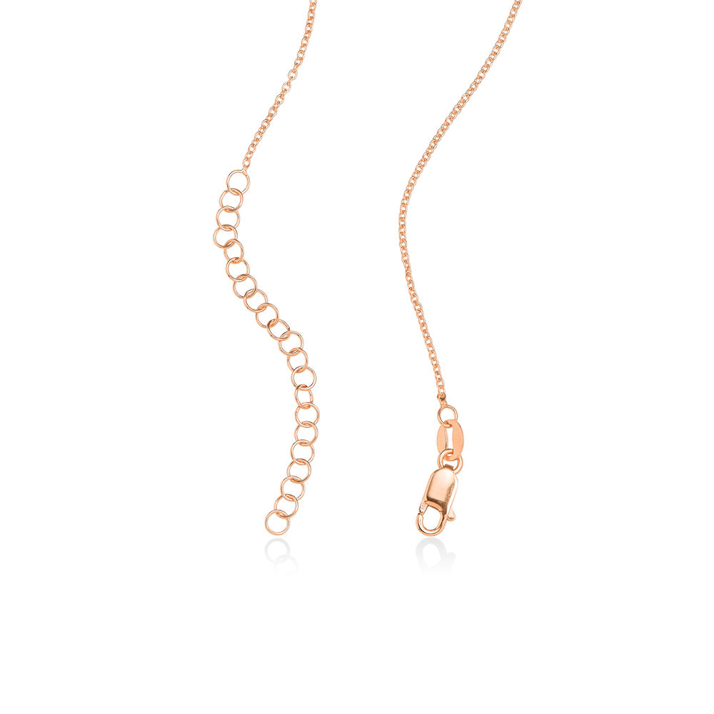 Engraved Family Pendant Necklace with Birthstones in Rose Gold Plating - 4