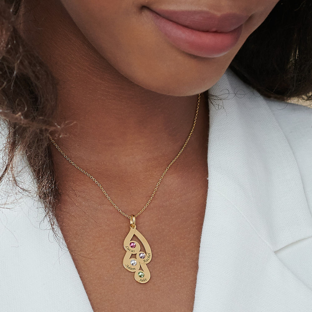 Engraved Family Pendant Necklace with Birthstones in Gold Vermeil - 5