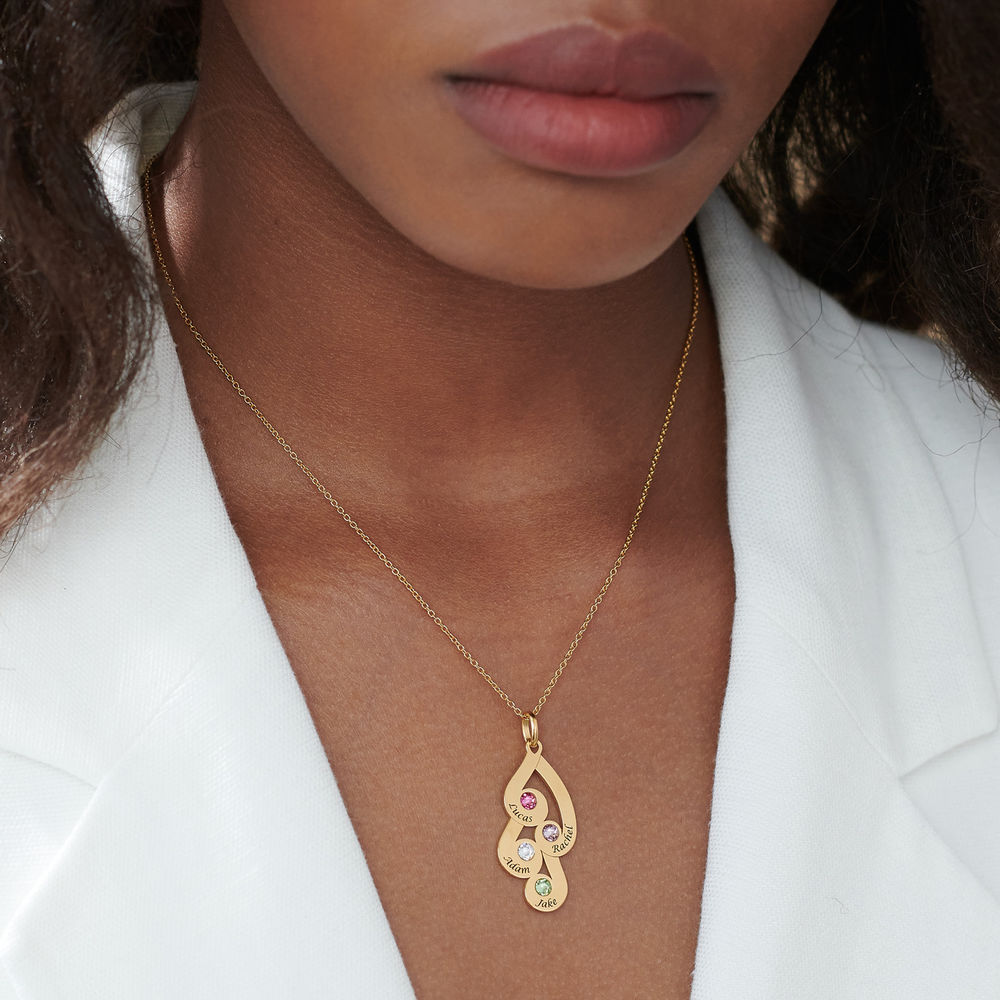 Engraved Family Pendant Necklace with Birthstones in Gold Vermeil - 6