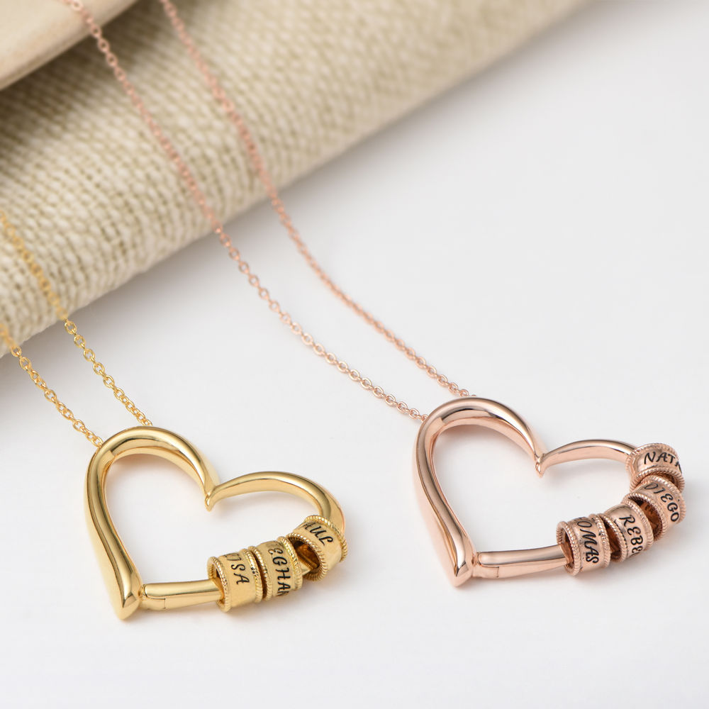 Charming Heart Necklace with Engraved Beads in Gold Plating - 4