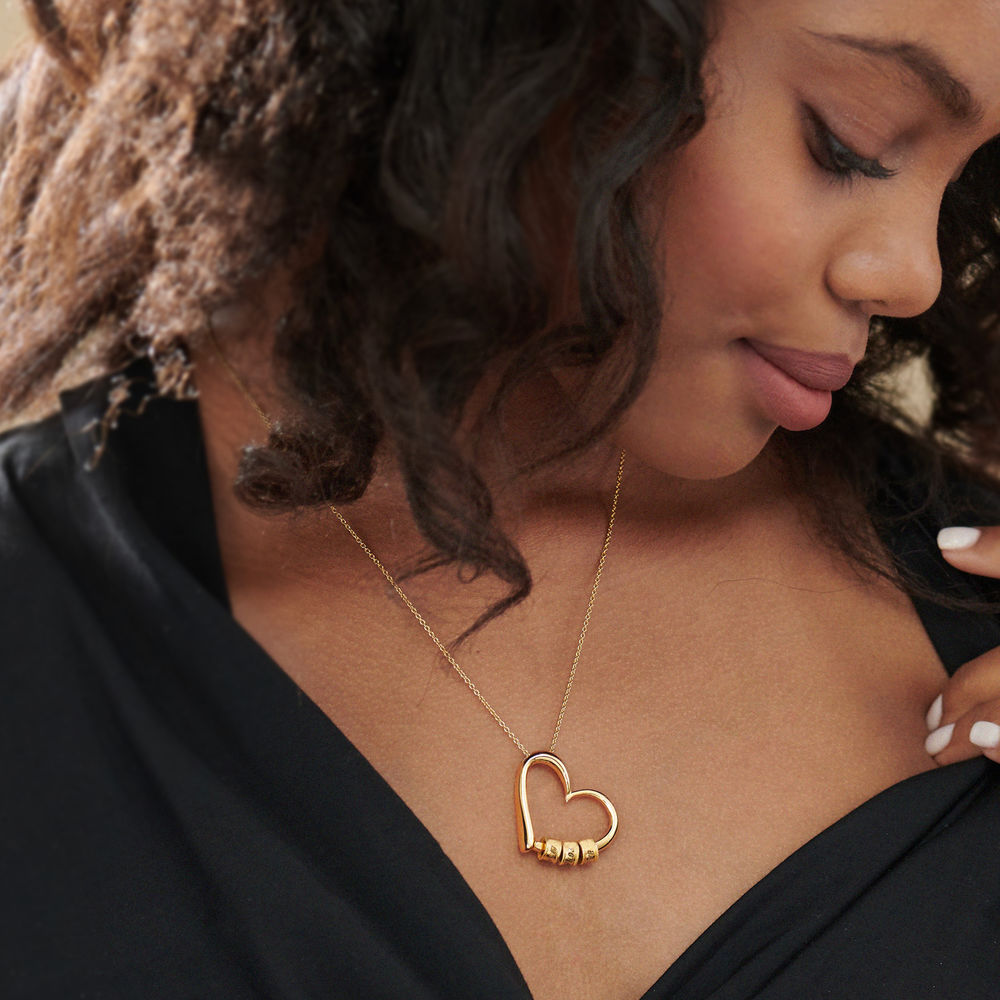 Charming Heart Necklace with Engraved Beads in Gold Plating - 5