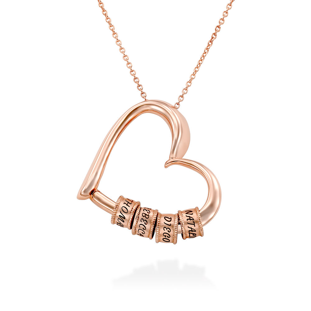 Charming Heart Necklace with Engraved Beads in Rose Gold Plating