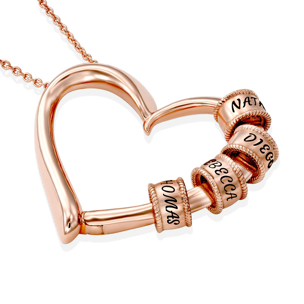 Charming Heart Necklace with Engraved Beads in Rose Gold Plating - 1