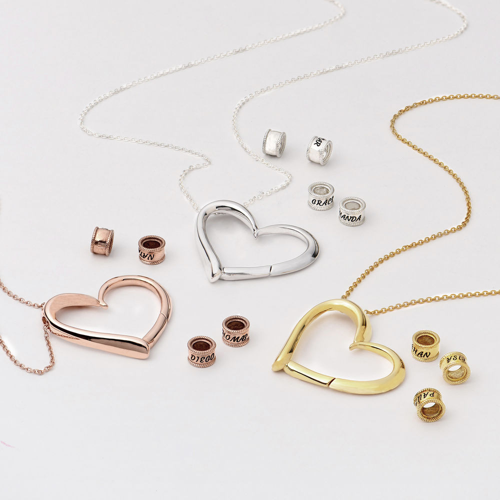 Charming Heart Necklace with Engraved Beads in Rose Gold Plating - 3