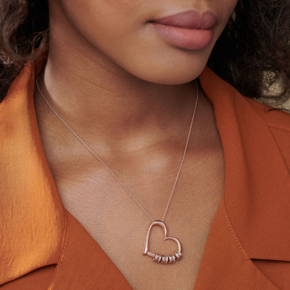 Charming Heart Necklace with Engraved Beads in Rose Gold Plating - 5