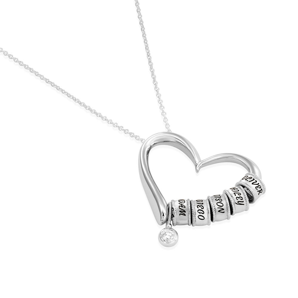 Sweetheart Necklace with Engraved Beads & Diamond in Sterling Silver - 1