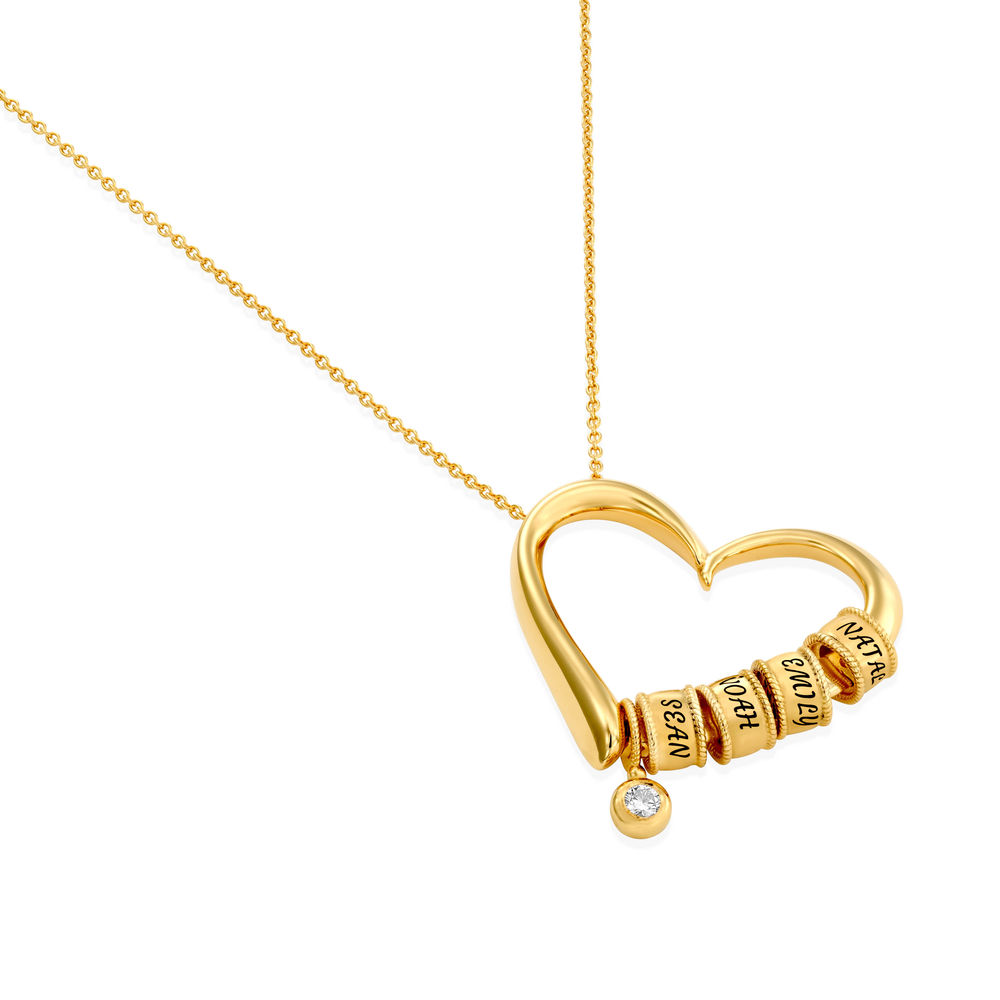 Sweetheart Necklace with Engraved Beads & Diamond in Gold Plating - 1