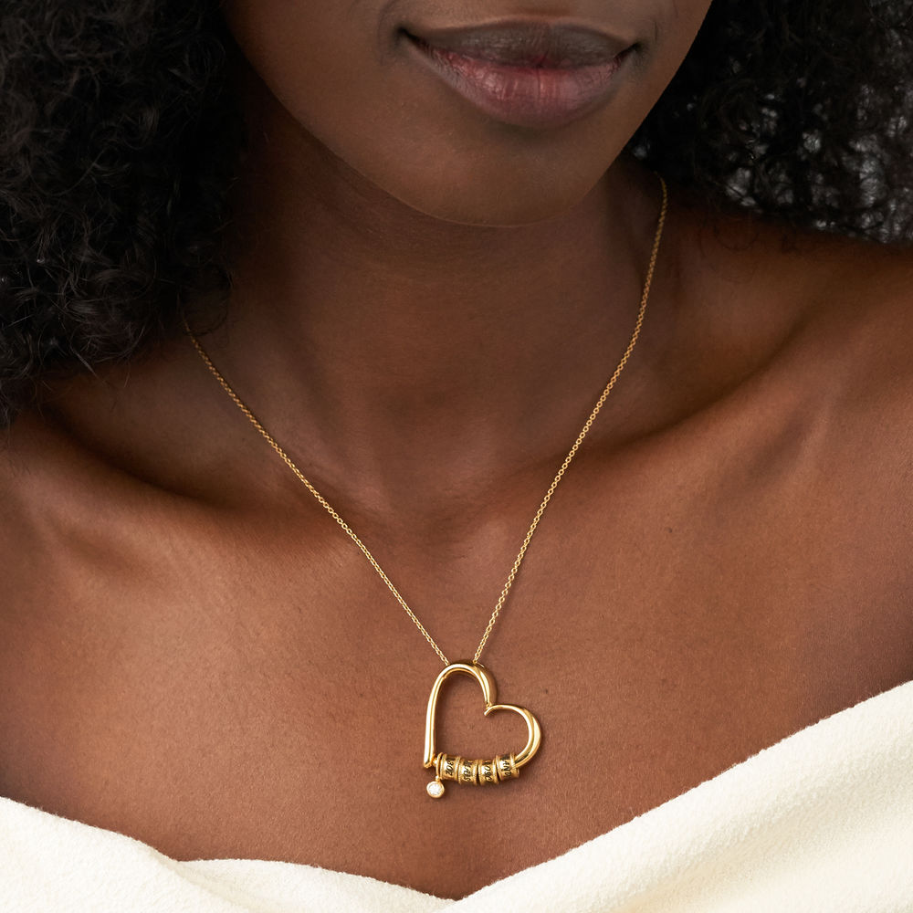 Sweetheart Necklace with Engraved Beads & Diamond in Gold Plating - 3