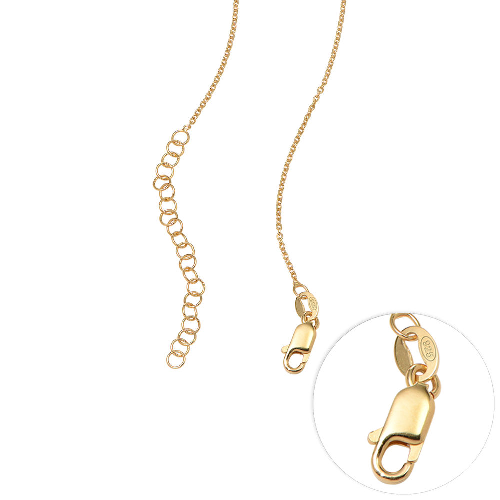 Sweetheart Necklace with Engraved Beads & Diamond in Gold Plating - 6