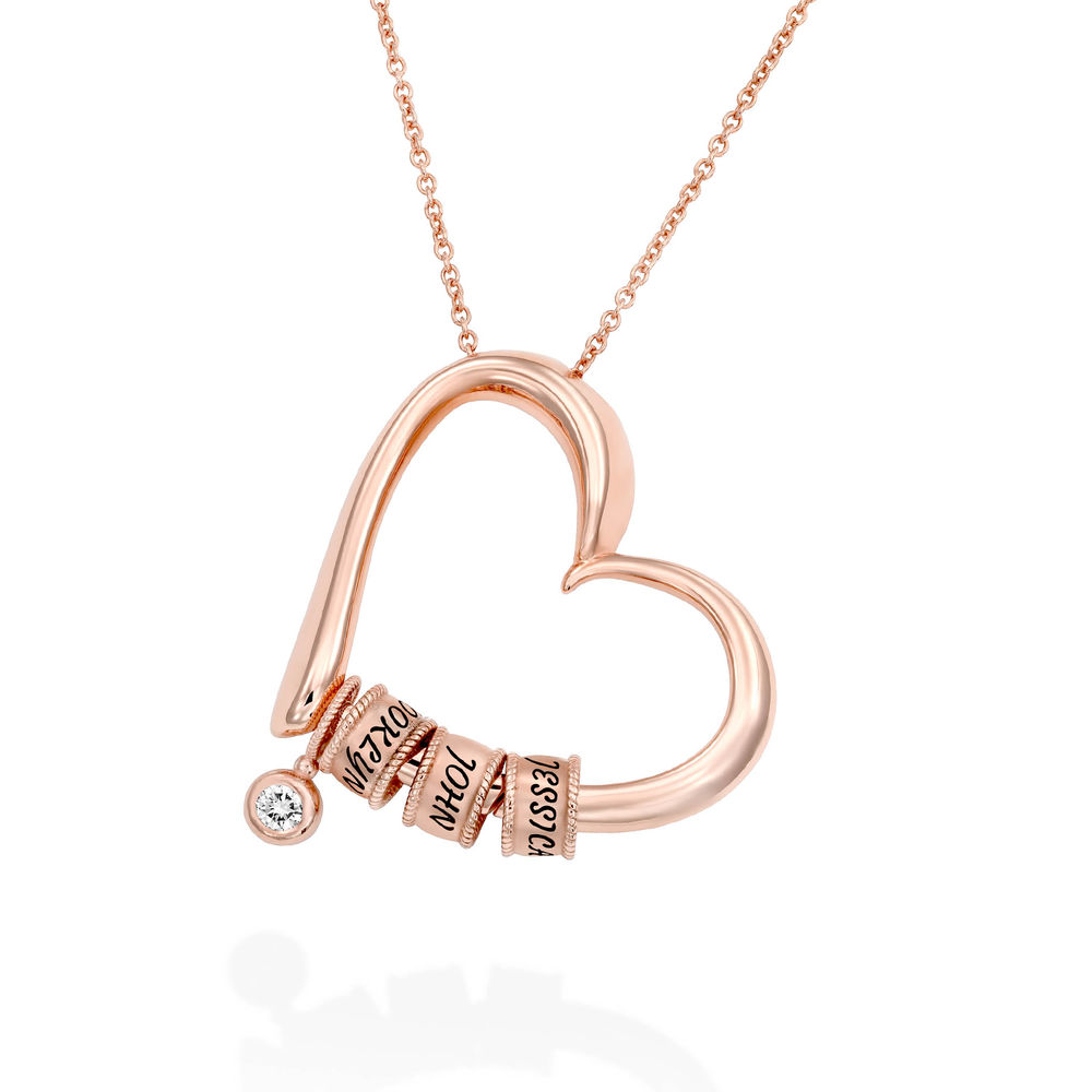 Sweetheart Necklace with Engraved Beads & Diamond in Rose Gold Plating