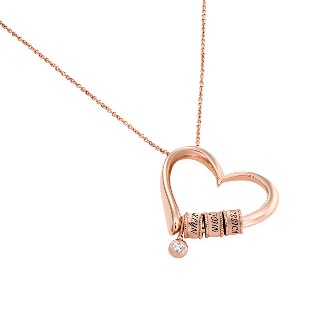 Sweetheart Necklace with Engraved Beads & Diamond in Rose Gold Plating - 1