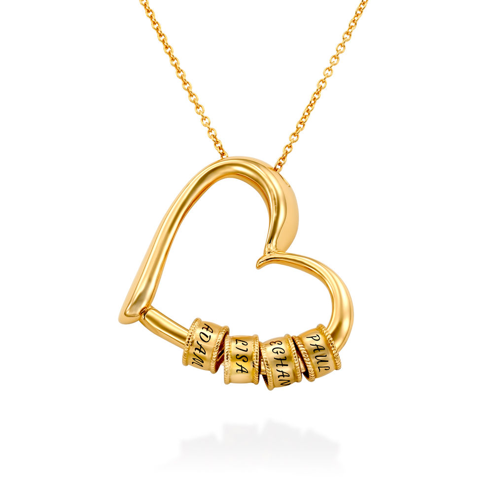 Charming Heart Necklace with Engraved Beads in Gold Vermeil