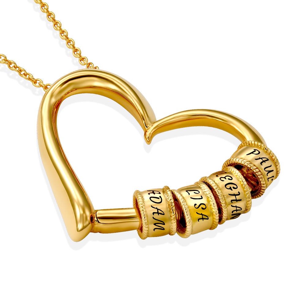 Charming Heart Necklace with Engraved Beads in Gold Vermeil - 1