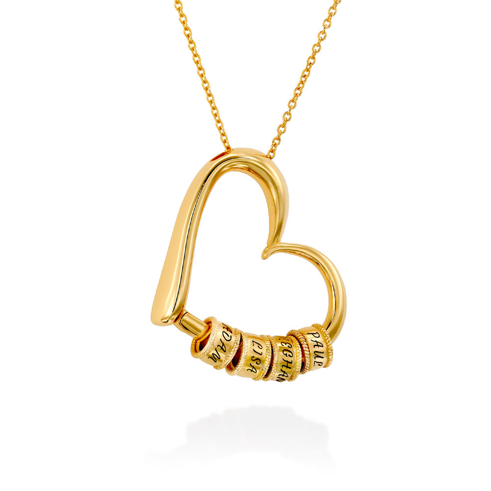 Charming Heart Necklace with Engraved Beads in Gold Vermeil - 2
