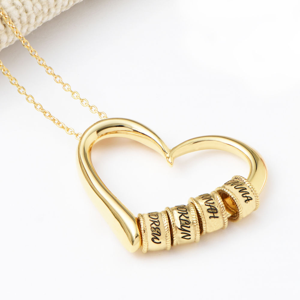 Charming Heart Necklace with Engraved Beads in Gold Vermeil - 4