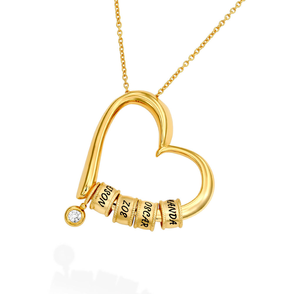 Sweetheart Necklace with Engraved Beads & Diamond in Gold Vermeil