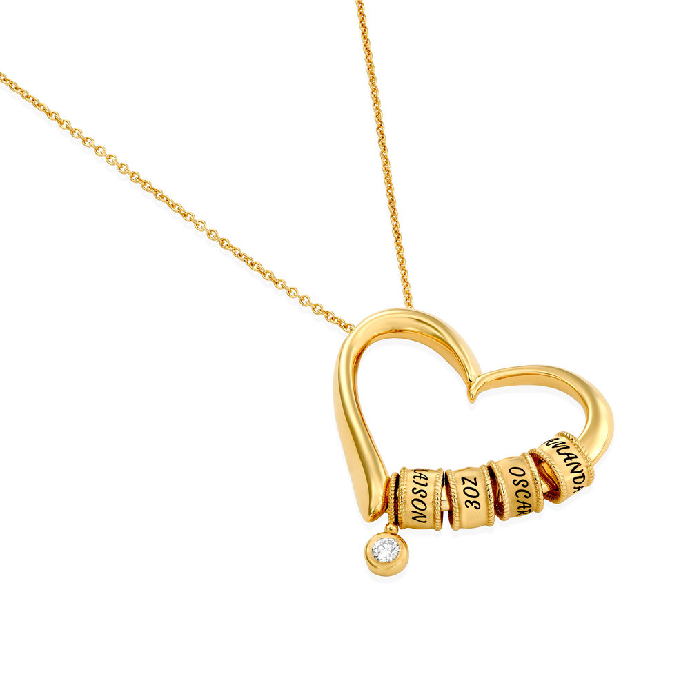 Sweetheart Necklace with Engraved Beads & Diamond in Gold Vermeil - 1