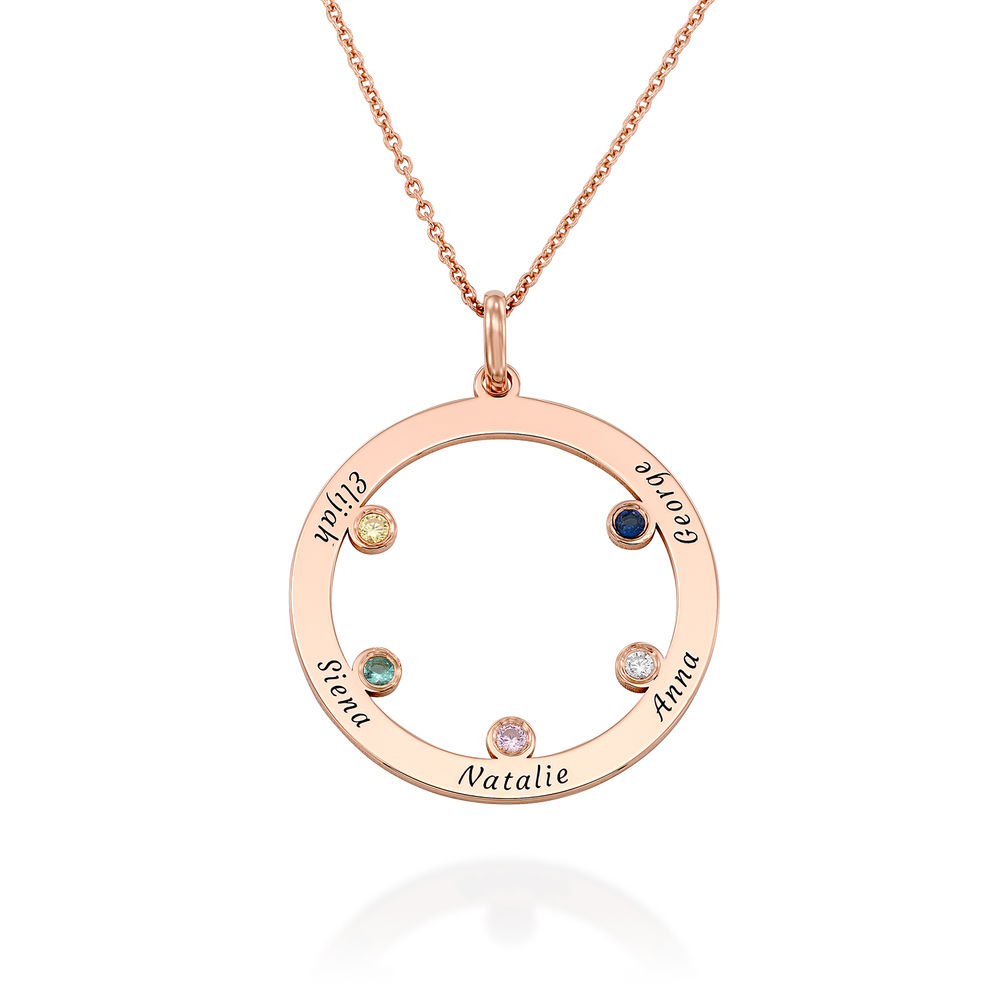 The Family Circle Necklace with Birthstones in Rose Gold Plating