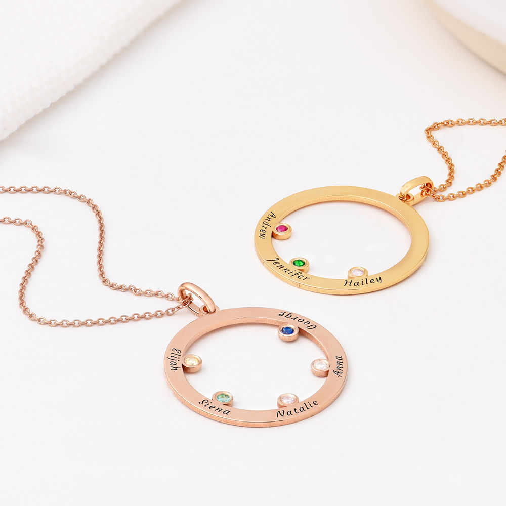 The Family Circle Necklace with Birthstones in Rose Gold Plating - 1