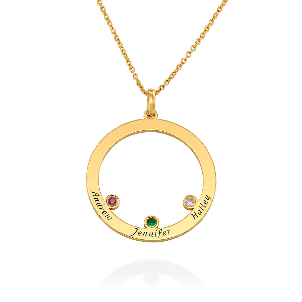 The Family Circle Necklace with Birthstones in Gold Vermeil