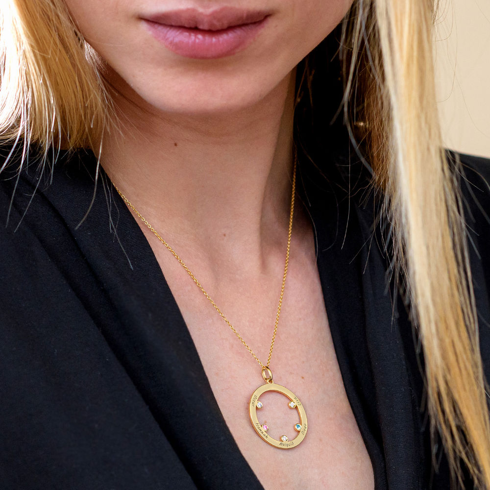 The Family Circle Necklace with Birthstones in Gold Vermeil - 3
