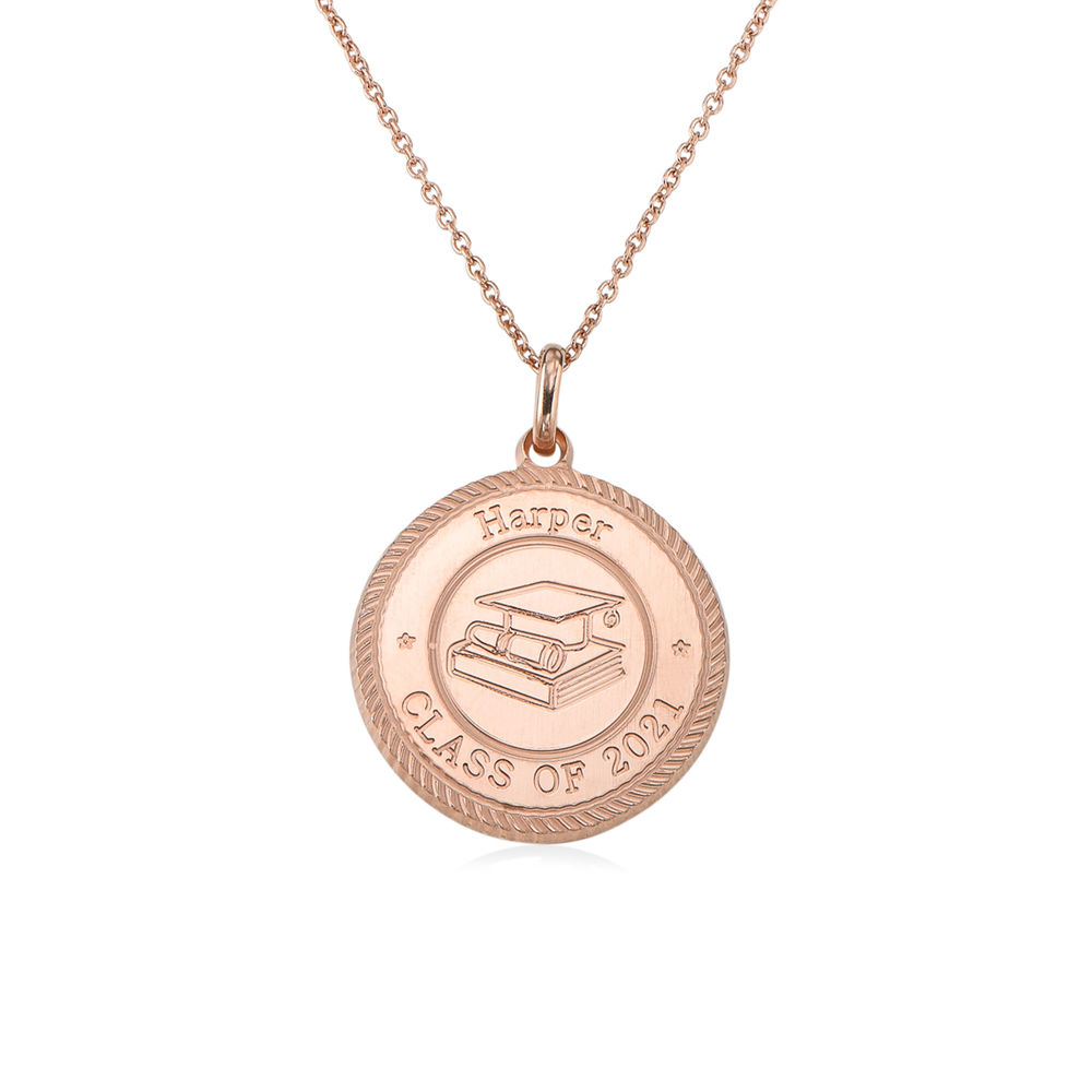 Graduation Cap Personalized Necklace in Rose Gold Plating