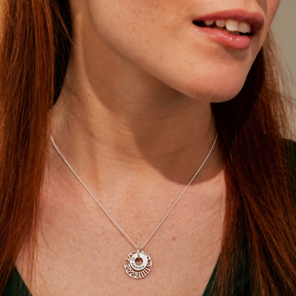 Custom Graduation Pendant Necklace with Cubic Zirconia in Sterling Silver - 3