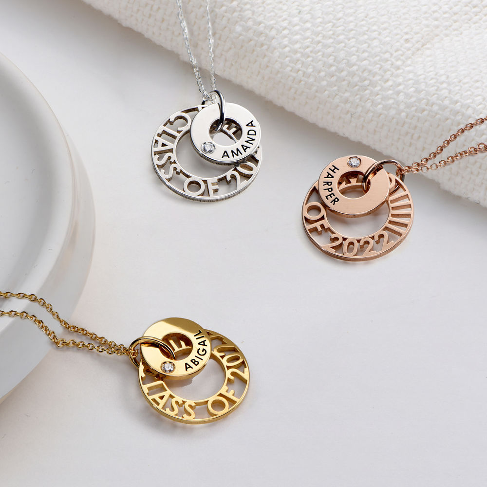 Custom Graduation Pendant Necklace with Cubic Zirconia in Rose Gold Plating - 1