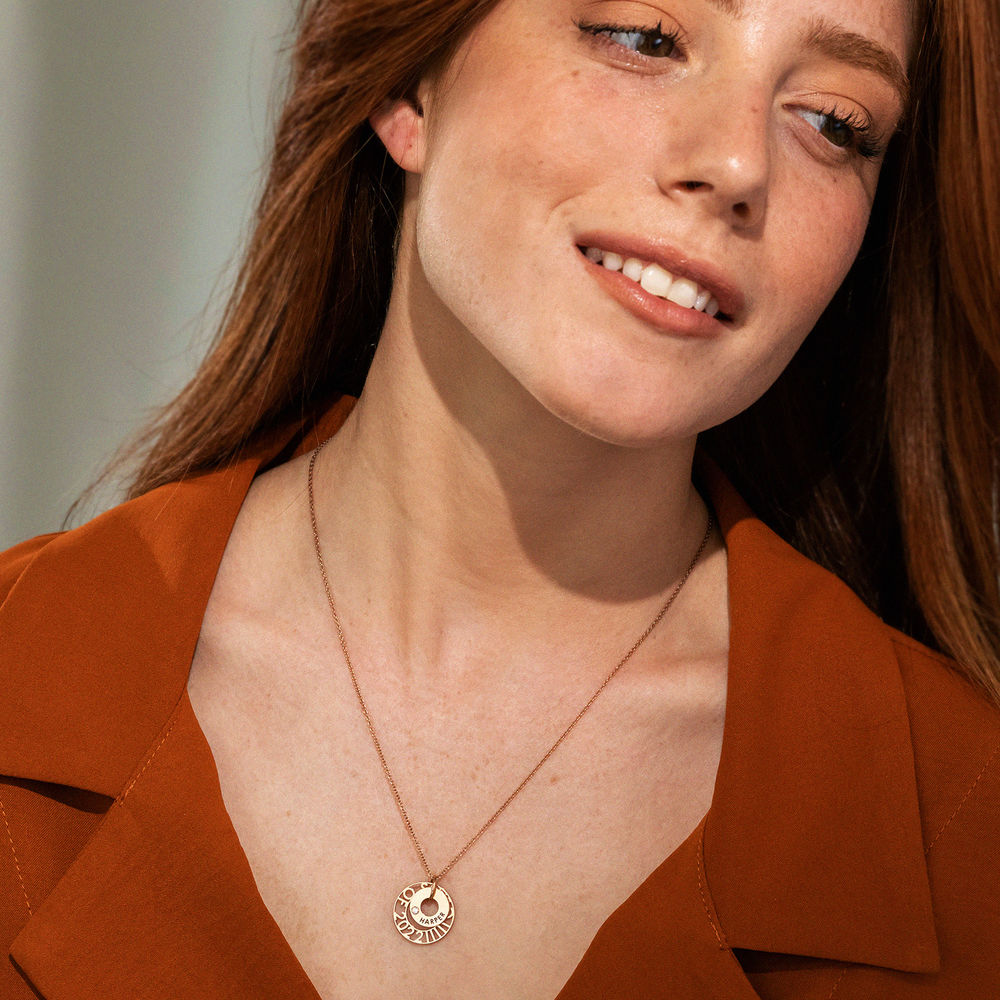 Custom Graduation Pendant Necklace with Cubic Zirconia in Rose Gold Plating - 4