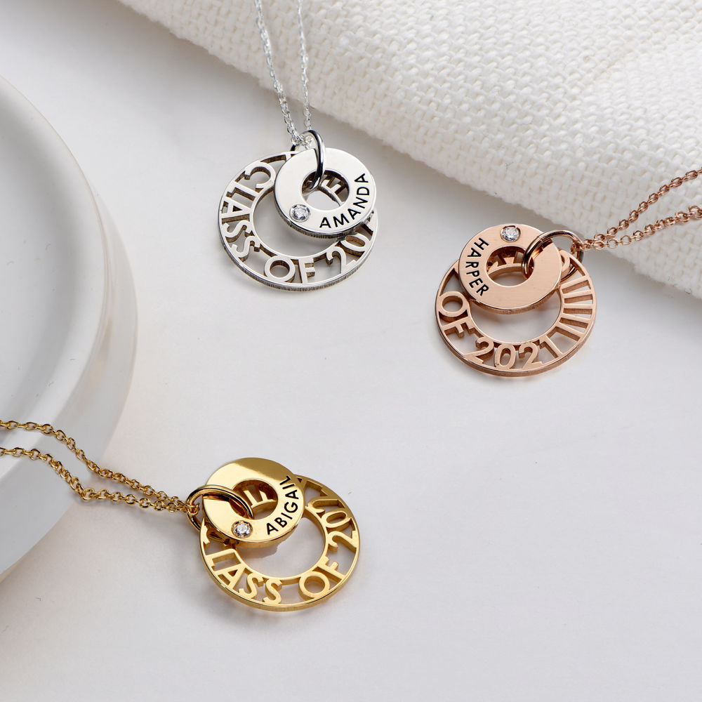 Custom Graduation Pendant Necklace with Cubic Zirconia in Gold Vermeil - 1