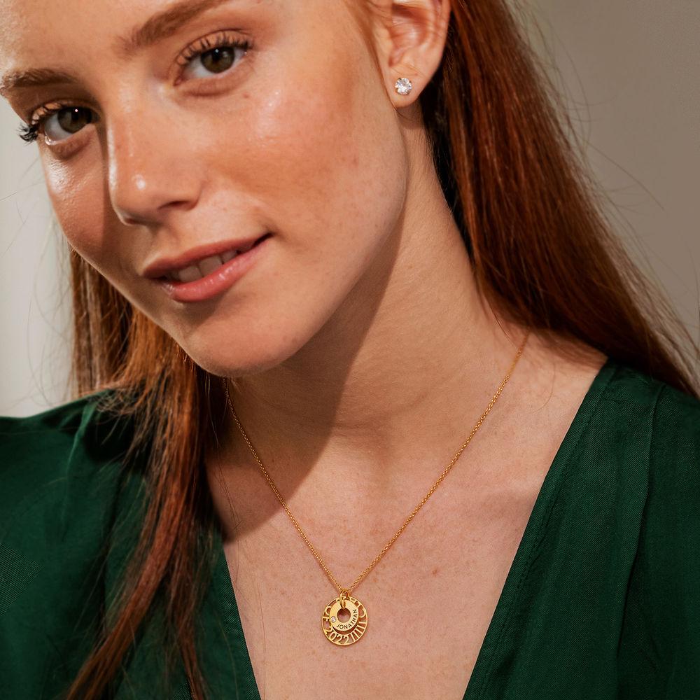 Custom Graduation Pendant Necklace with Cubic Zirconia in Gold Vermeil - 2
