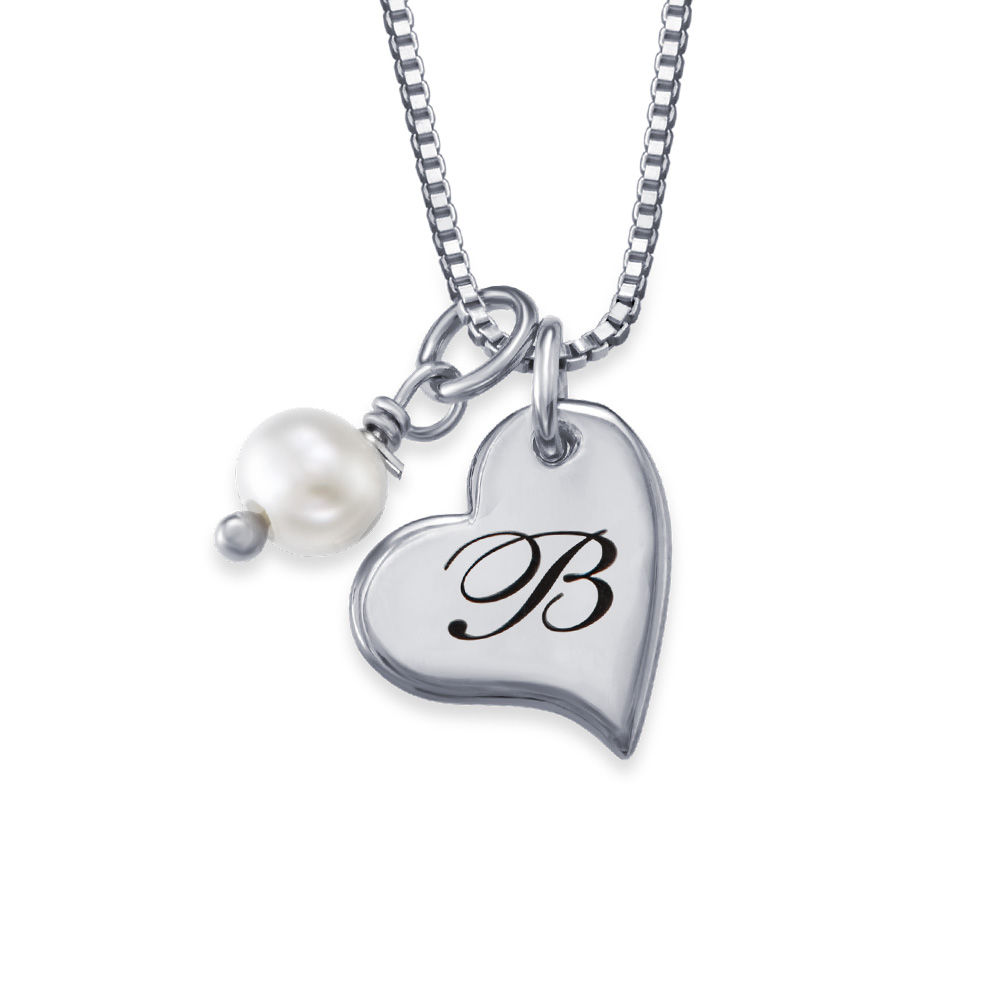 Always The Bridesmaid - Initial Pearl Necklace in Sterling Silver - 1