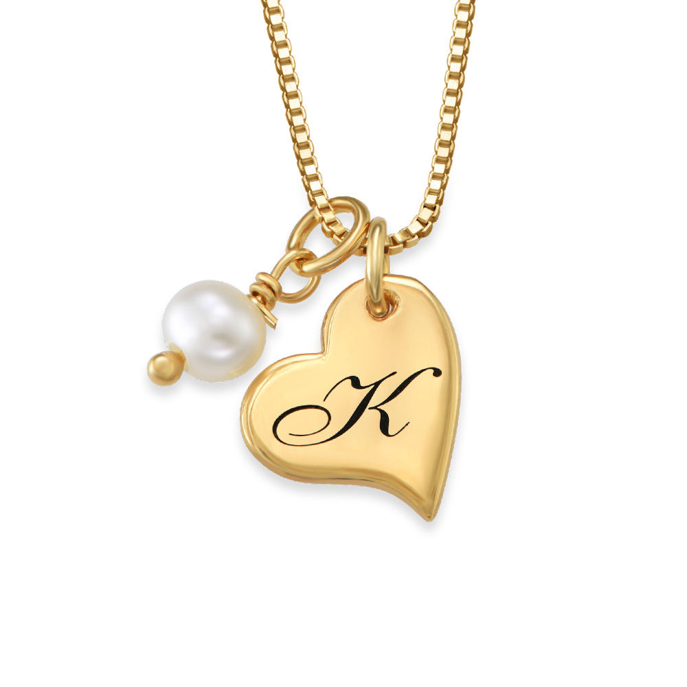 Always The Bridesmaid - Initial Pearl Necklace in 18K Gold Plating - 1