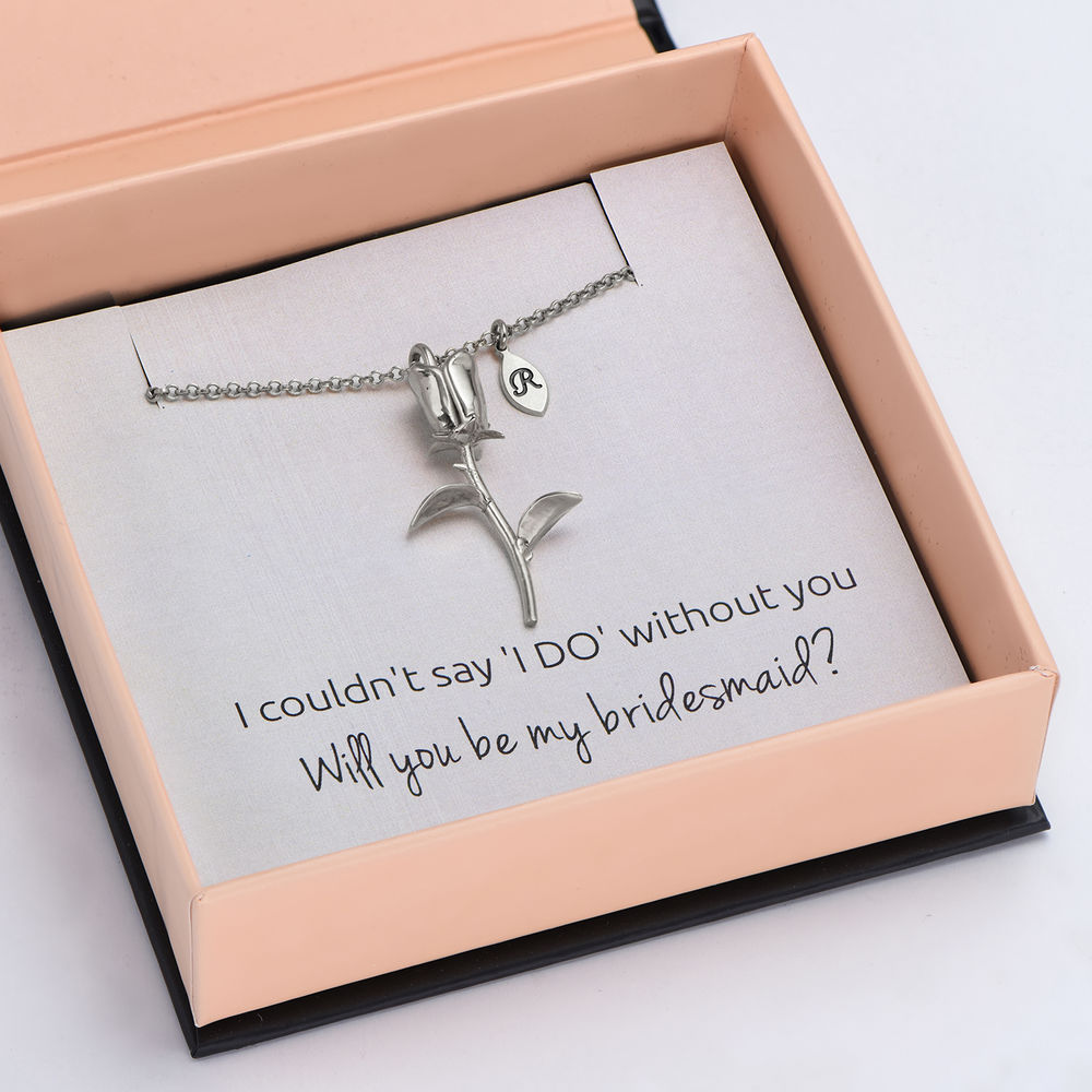 The Bridesmaid's Rose - Initial Charms Necklace in Sterling Silver