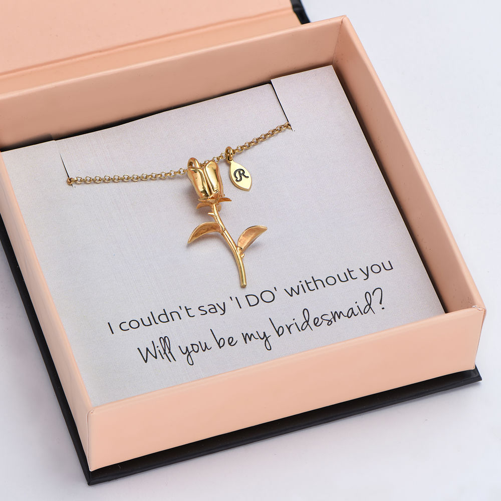 The Bridesmaid's Rose - Initial Charms Necklace in 18K Gold Plating