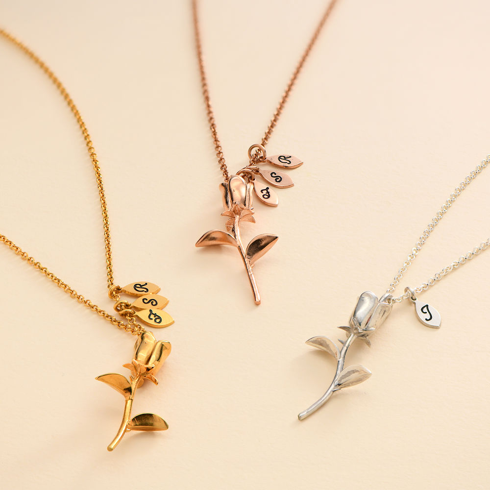 The Bridesmaid's Rose - Initial Charms Necklace in 18K Gold Plating - 2