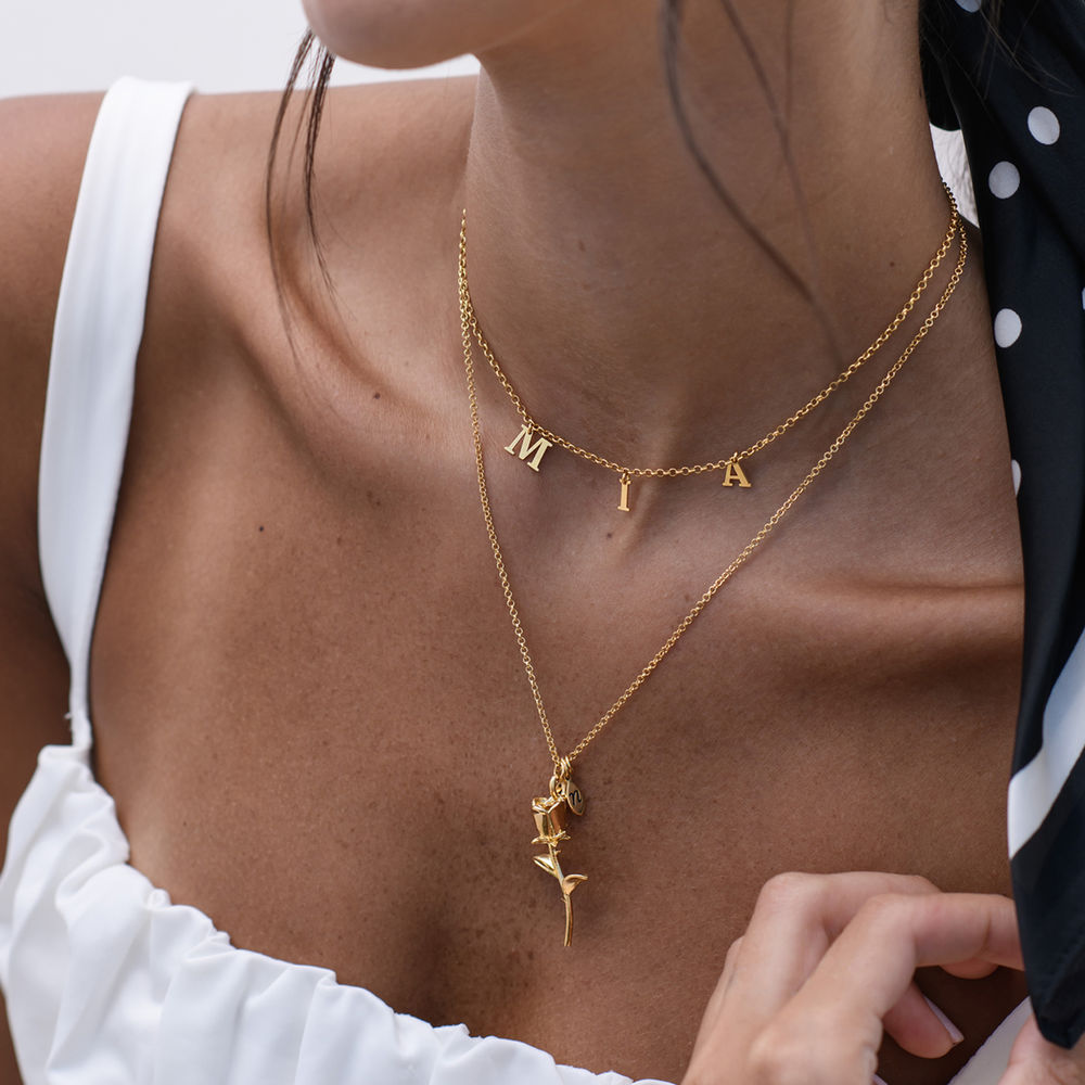 The Bridesmaid's Rose - Initial Charms Necklace in 18K Gold Plating - 3