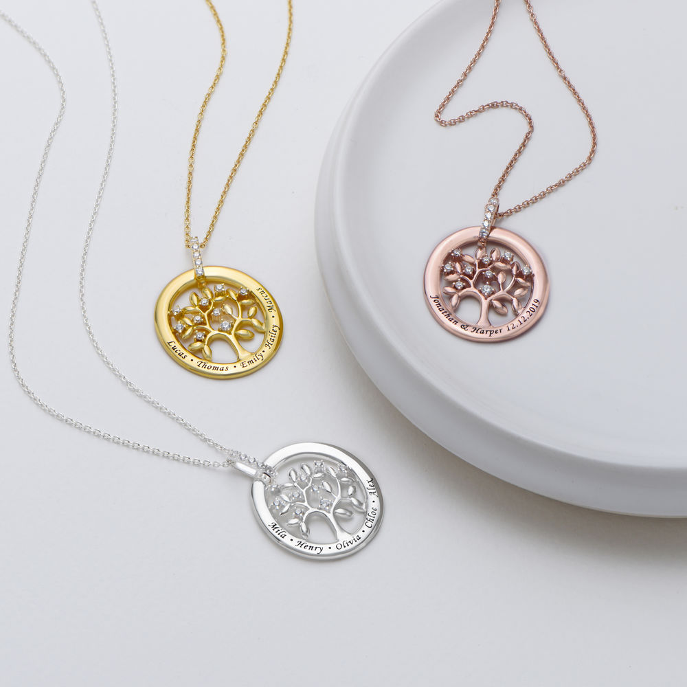 Custom Family Tree Necklace in Rose Gold Plating - 1