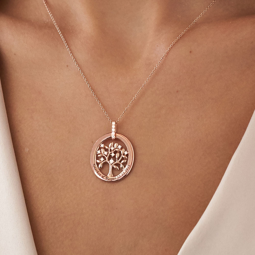 Custom Family Tree Necklace in Rose Gold Plating - 2