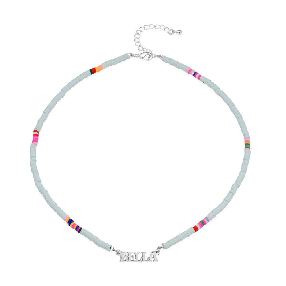 Pastel Sky Bead Name Necklace in Sterling Silver - 1