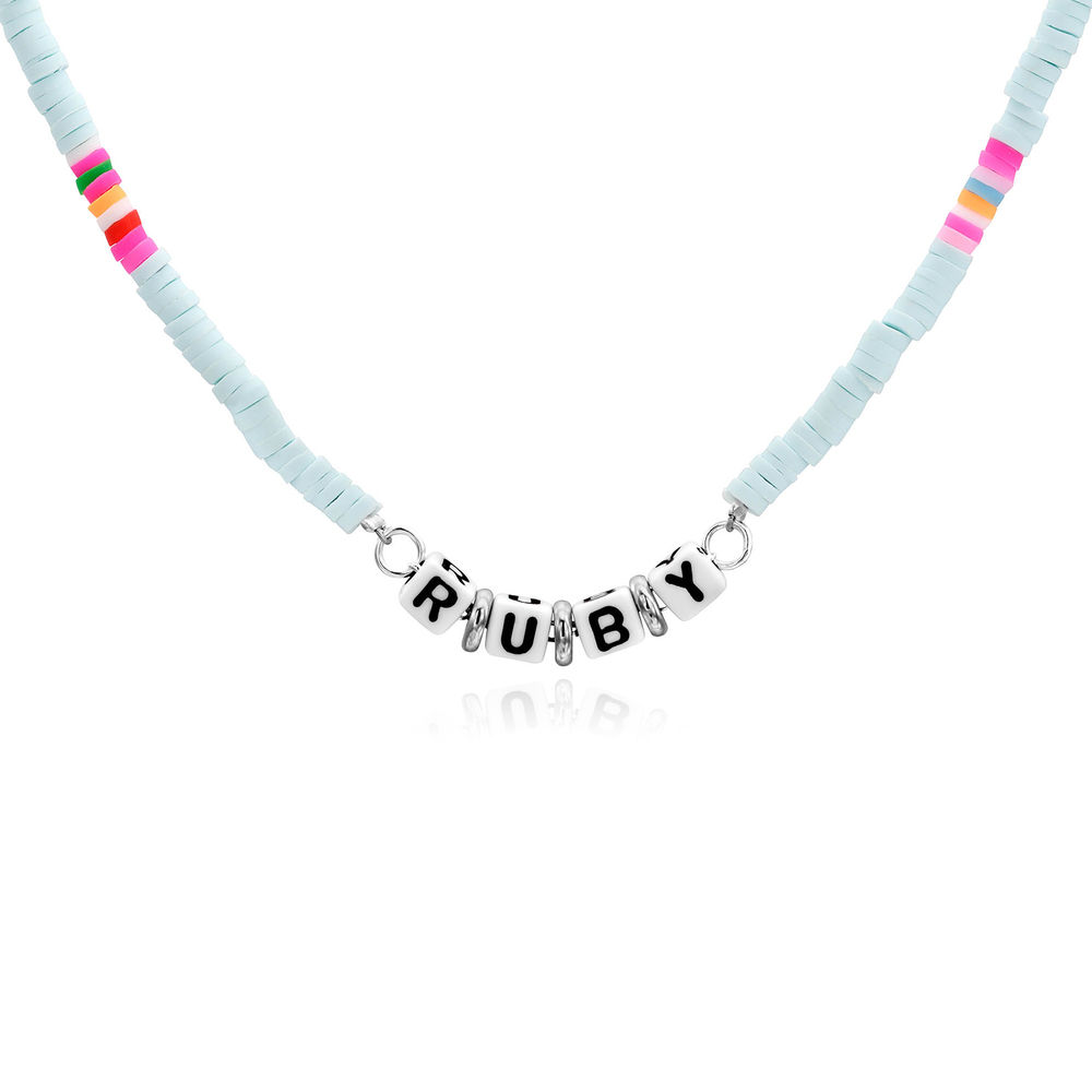 Tidal Wave Beaded Name Necklace in Sterling Silver