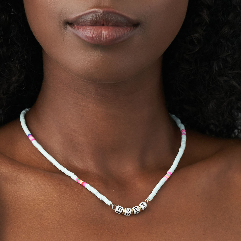 Tidal Wave Beaded Name Necklace in Sterling Silver - 4