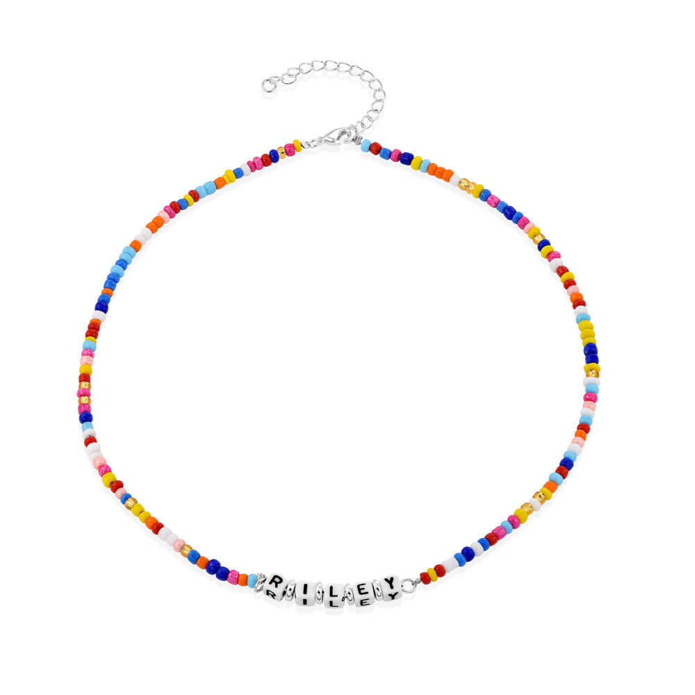 Rainbow Remix Kids Beaded Name Necklace in Sterling Silver - 1