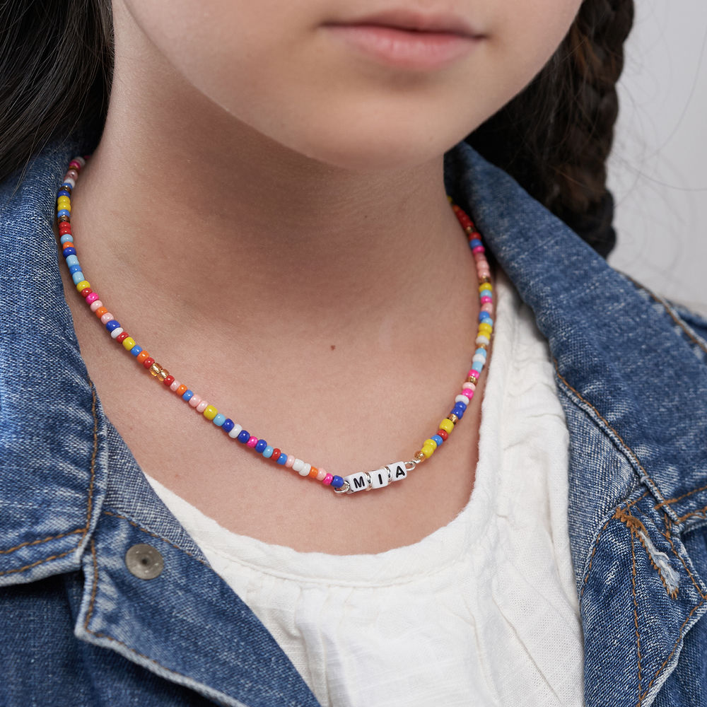 Rainbow Remix Kids Beaded Name Necklace in Sterling Silver - 3