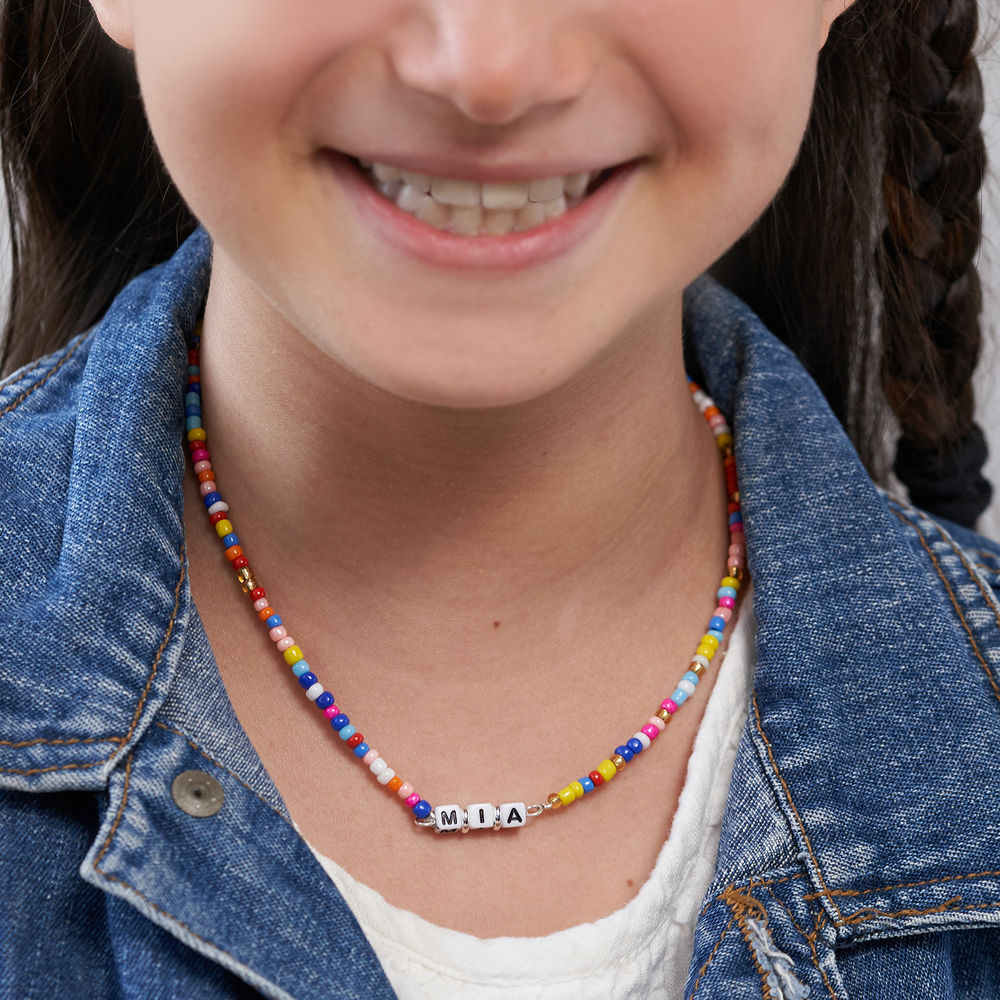 Rainbow Remix Kids Beaded Name Necklace in Sterling Silver - 4
