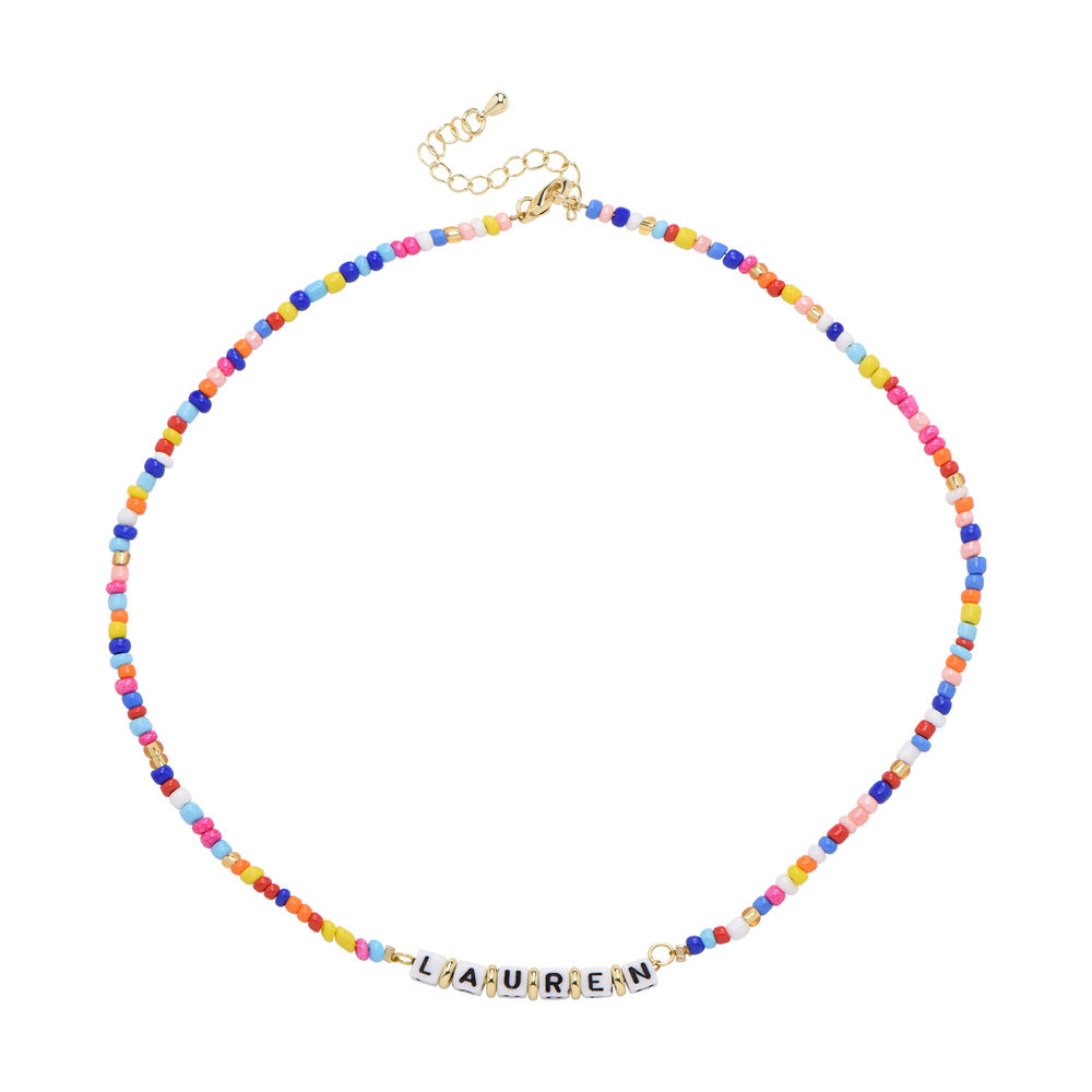 Rainbow Remix Kids Beaded Name Necklace in Gold Plating - 1