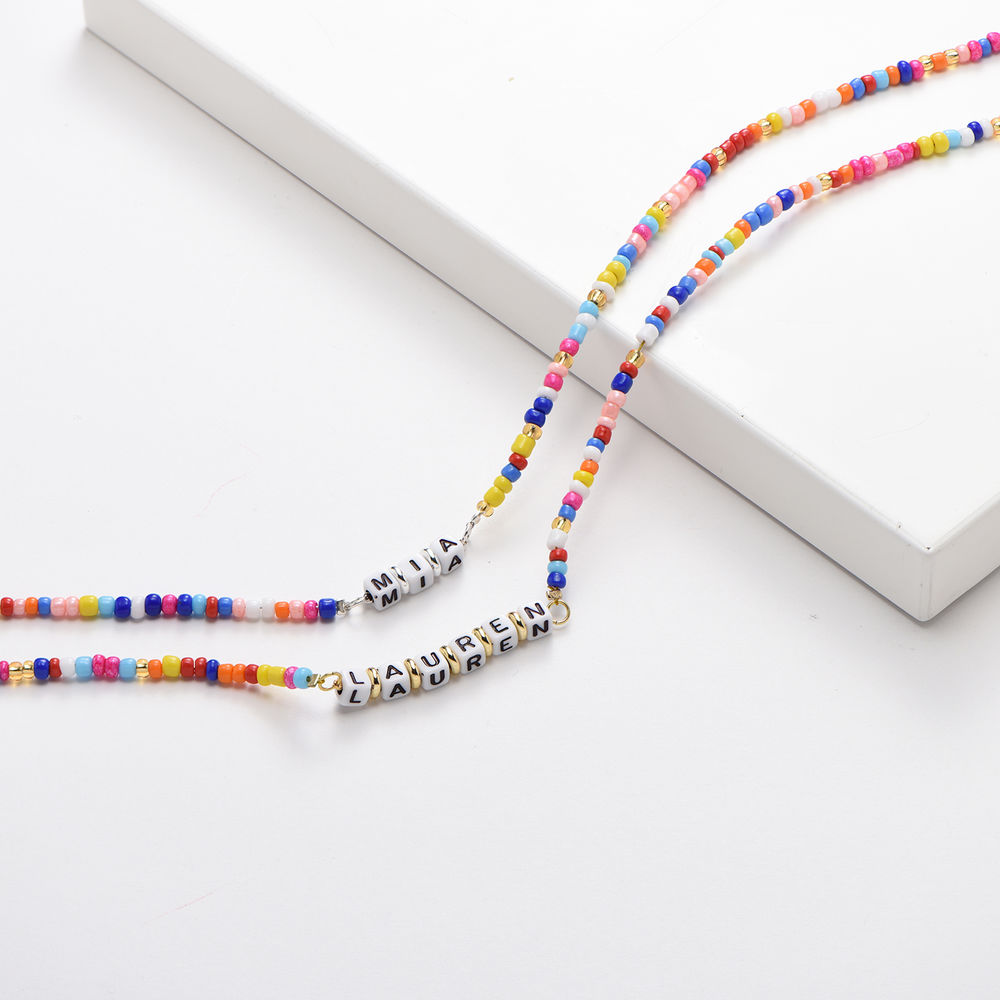 Rainbow Remix Kids Beaded Name Necklace in Gold Plating - 2