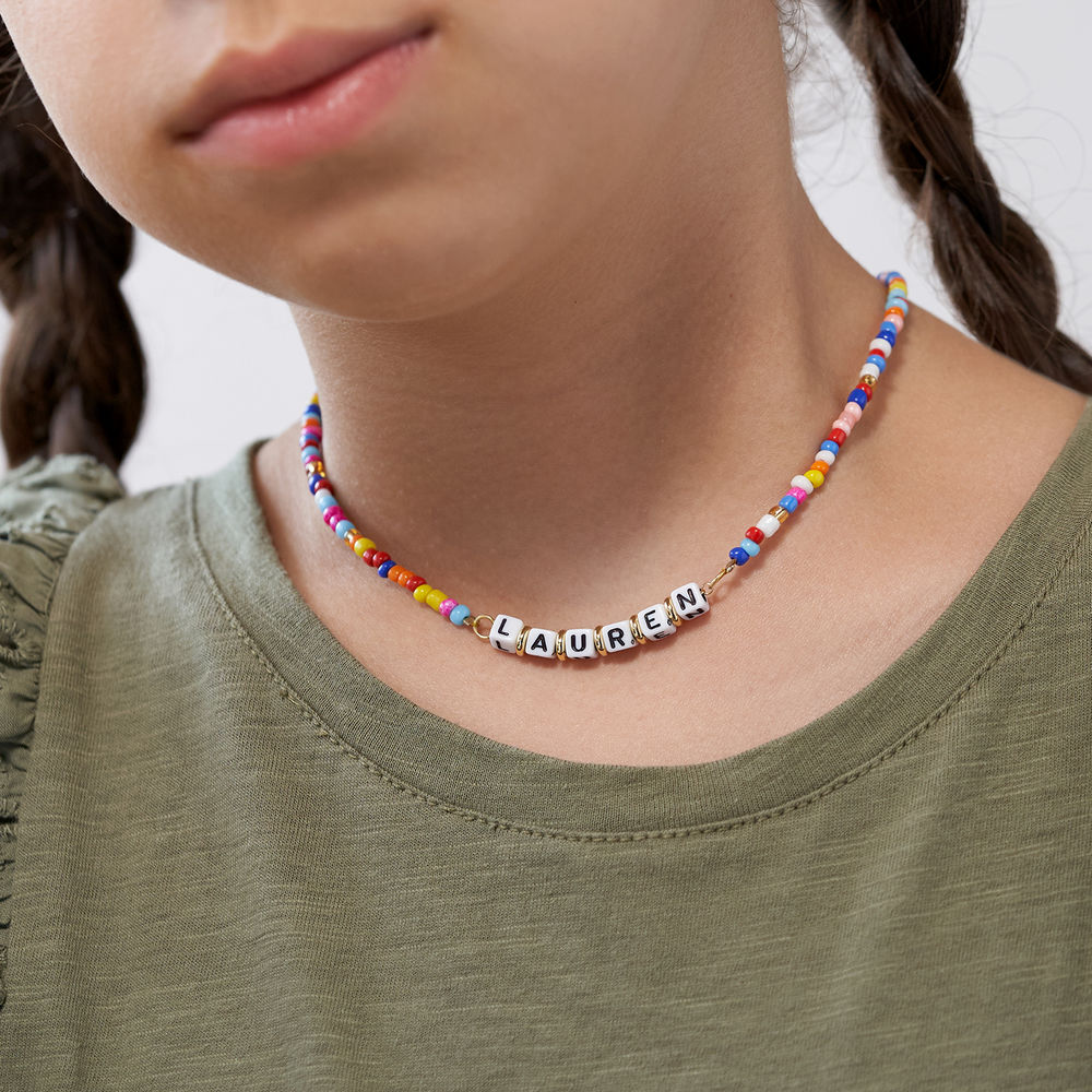 Rainbow Remix Kids Beaded Name Necklace in Gold Plating - 3