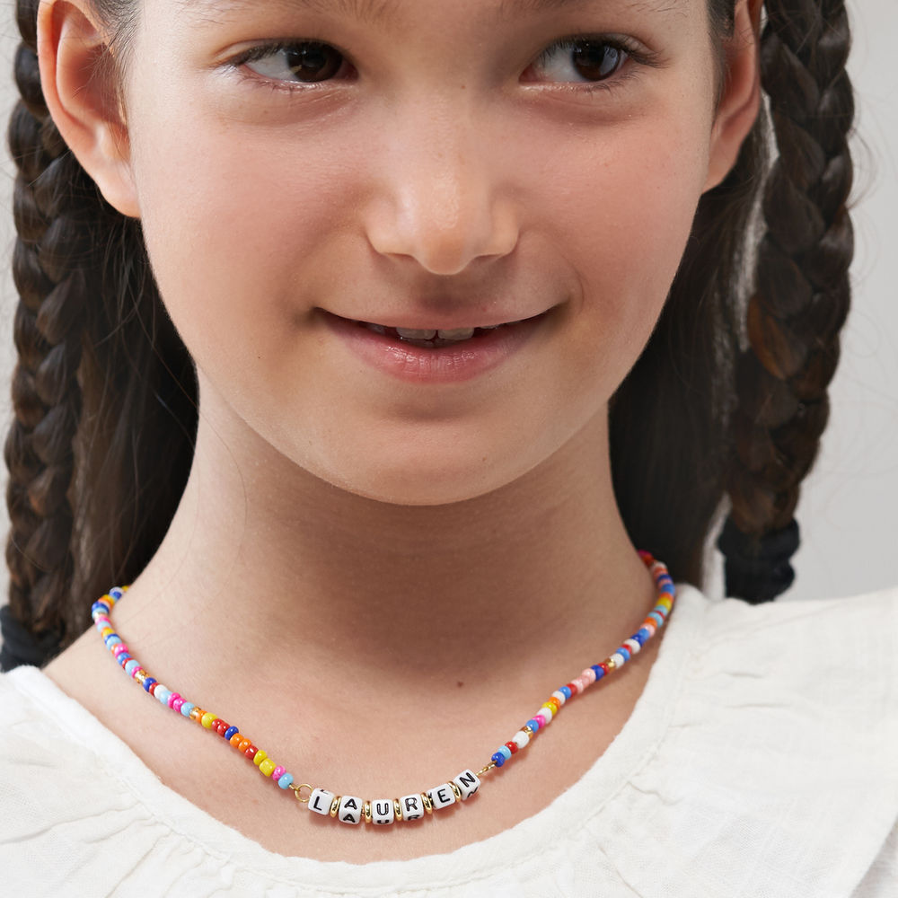 Rainbow Remix Kids Beaded Name Necklace in Gold Plating - 4